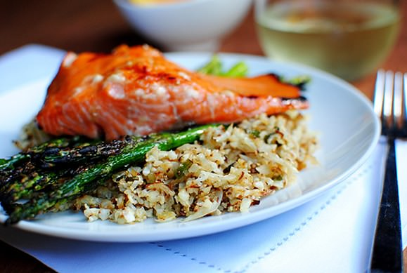 maple grilled salmon with cauliflower rice iowa girl eats. Black Bedroom Furniture Sets. Home Design Ideas