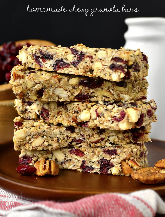 Stack of Homemade Chewy Granola Bars | iowagirleats.com