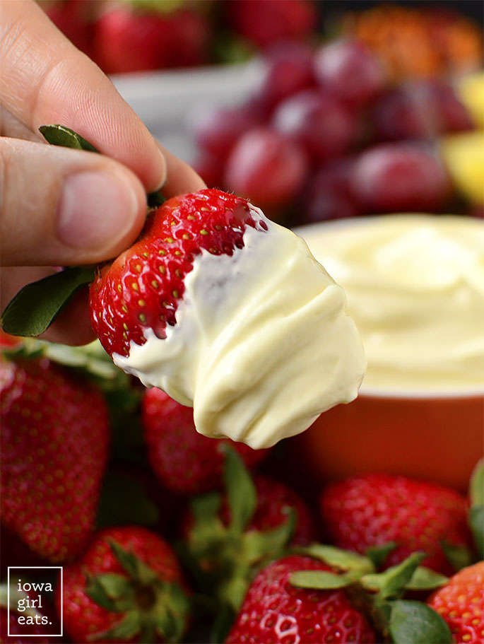 Strawberry dipped into fruit dip