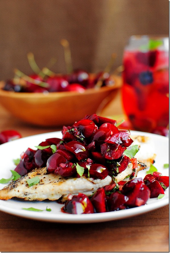 Grilled Chicken & Fresh Cherry Salsa, National Cherry Month