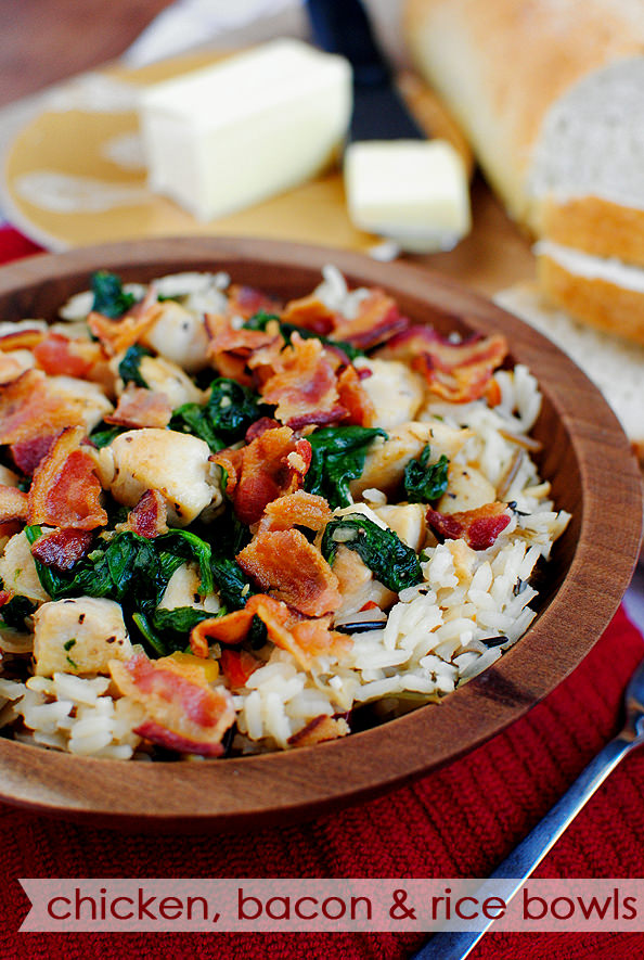 Chicken, Bacon and Rice Bowls is a quick and easy gluten-free dinner recipe that will be on the table in under 30 minutes! | iowagirleats.com