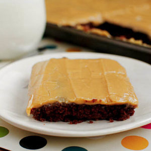 Chocolate Sheet Cake with Peanut Butter Icing