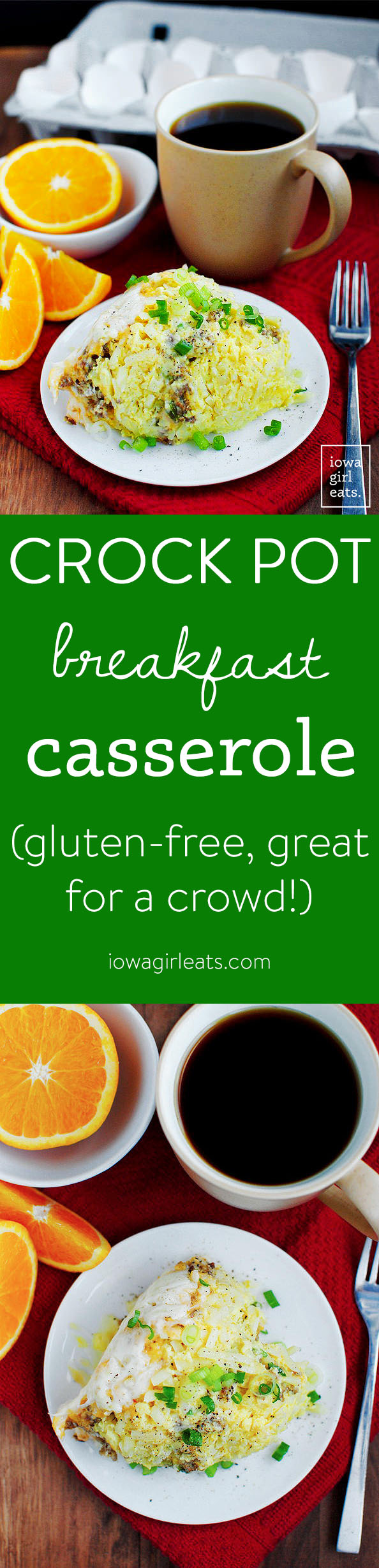 Crock Pot Breakfast Casserole is the perfect gluten-free breakfast for feeding a hungry crowd. Hearty and so delicious! | iowagirleats.com