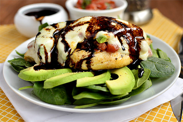 Avocado Mozzarella and Bruschetta Chicken via @Iowa Girl Eats