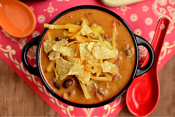 Cheesy Taco Soup via Iowa Girl Eats