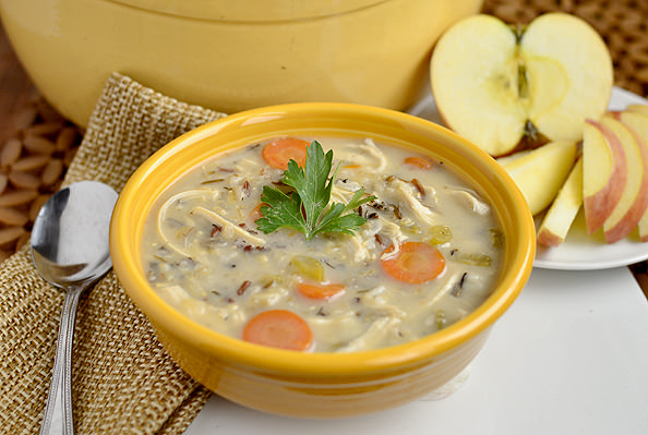 Chicken and Wild Rice Soup via @Iowa Girl Eats