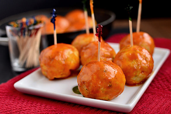 Feta-Stuffed Buffalo Chicken Meatballs via @Iowa Girl Eats