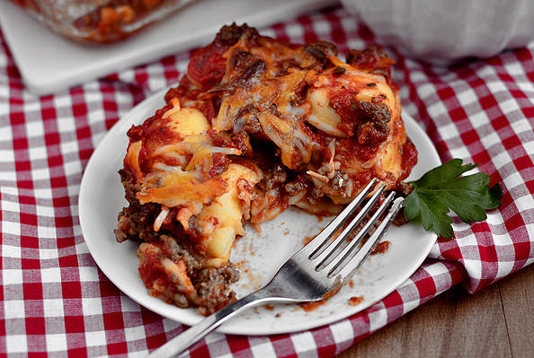 Lazy Girls Ravioli Lasagna via Iowa Girl Eats