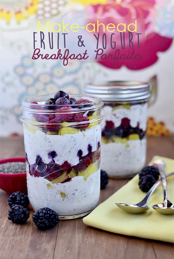 Make-Ahead Fruit and Yogurt Breakfast Parfaits via Iowa Girl Eats