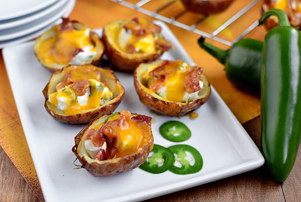 Roasted Jalapeno Popper Potato Skins via Iowa Girl Eats