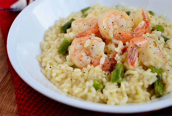 Simple Shrimp and Asparagus Risotto - Iowa Girl Eats