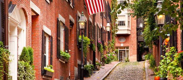 Famous Acorn Street in Beacon Hill, Boston Massachusetts USA. Image shot 2009. Exact date unknown.