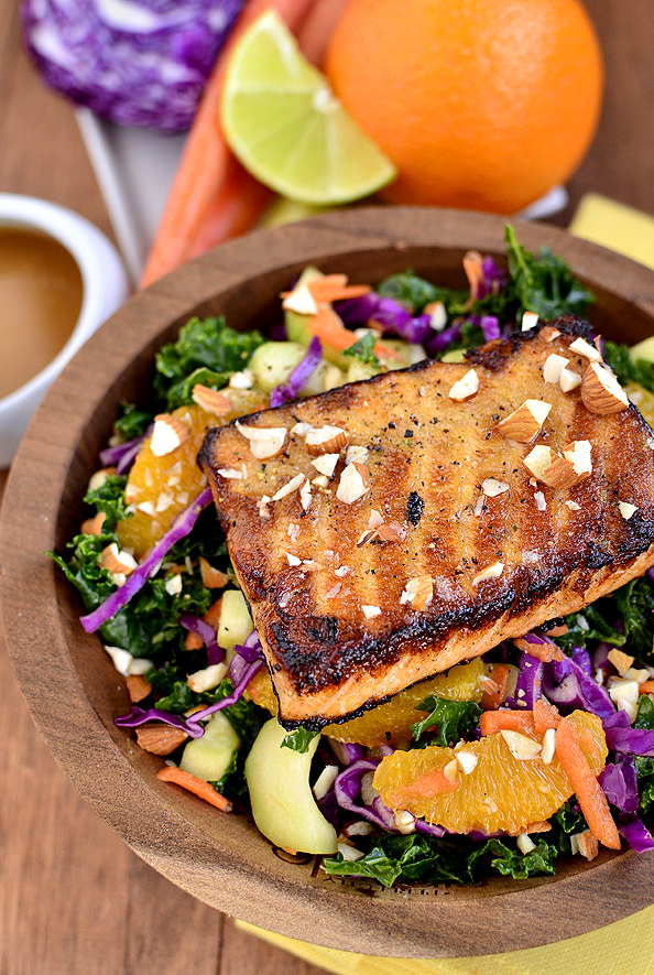 Asian Kale & Salmon Salad | iowagirleats.com