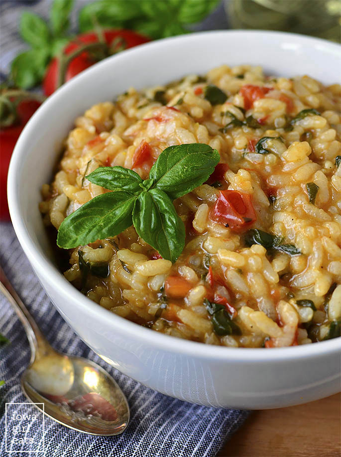 Bowl of tomato-basil risotto