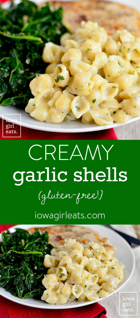 Photo Collage of Creamy Garlic Shells.