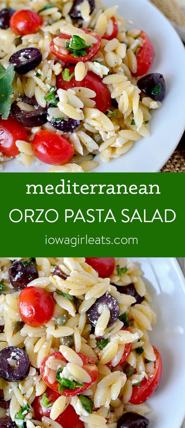 Photo collage of Mediterranean Orzo Pasta Salad