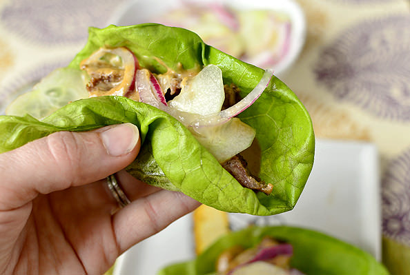 Thai Steak Lettuce Wraps with quick-pickled cucumber and onion | iowagirleats.com