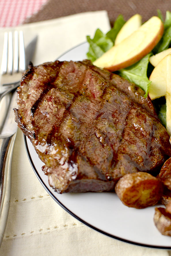 healthy summer recipes - Dijon-Brown Sugar Marinated Steak | iowagirleats.com