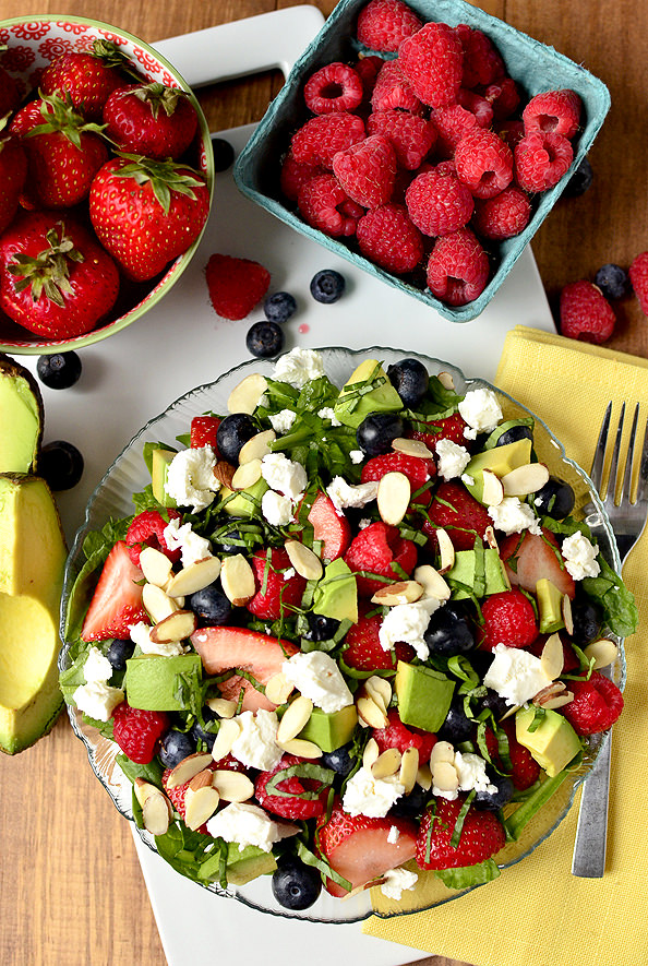 Triple-Berry Summer Salad | iowagirleats.com