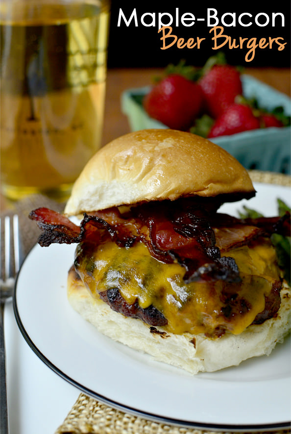 Maple-Bacon Beer Burgers | iowagirleats.com