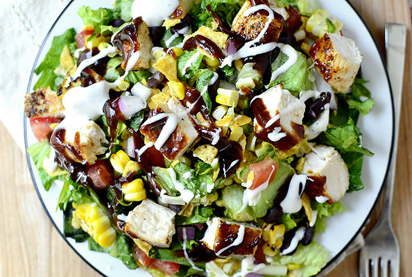 salad chopped chicken bbq barbecue salads recipe cheese sauce romaine iowagirleats corn tomato barbeque spicy smokey lettuce shredded forkful seriously