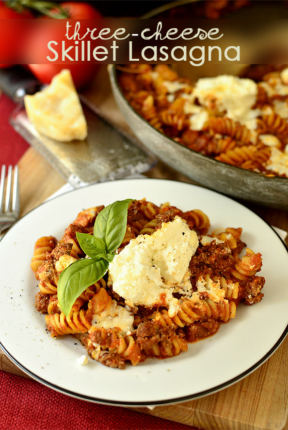 Three Cheese Skillet Lasagna | iowagirleats.com