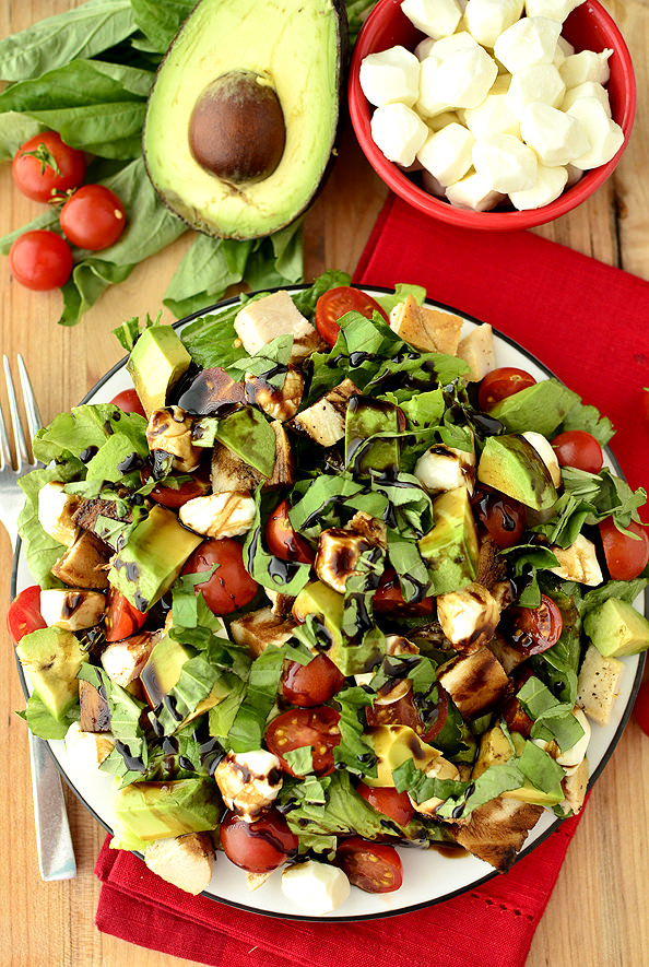 Overhead photo of avocado and chicken caprese salad