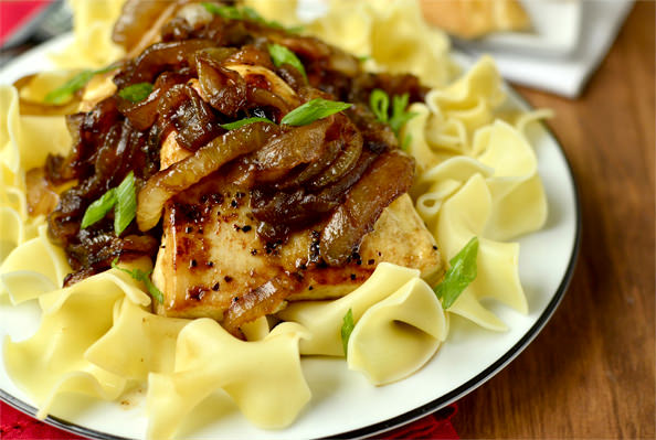 Honey and Balsamic-Onions Chicken Skillet | iowagirleats.com