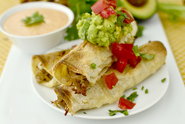 Pulled Pork Taquitos with Chipotle Ranch Dipping Sauce (Crock Pot recipe!) | iowagirleats.com