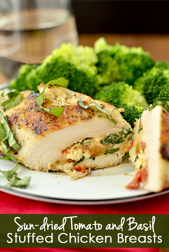 Sun-Dried Tomato and Basil Stuffed Chicken Breasts | iowagirleats.com