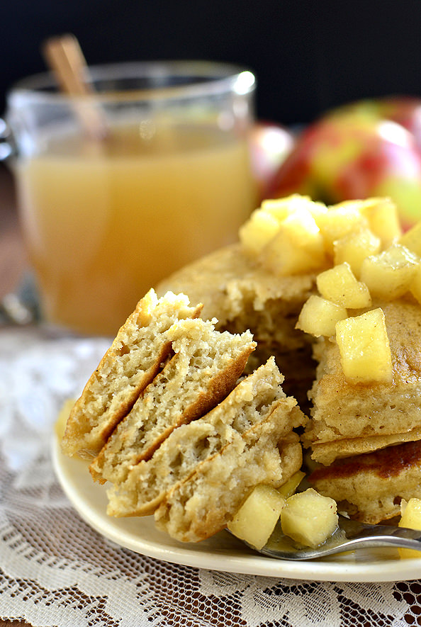 Apple Cider Pancakes with Maple Cider Syrup | iowagirleats.com