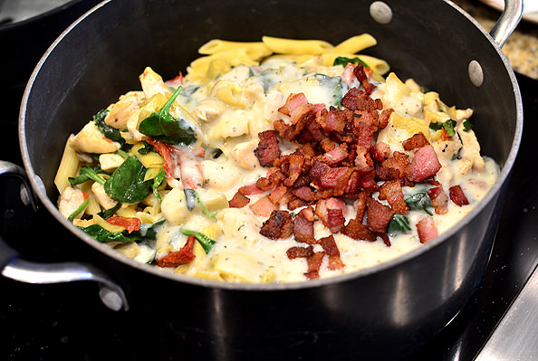 Chicken, Bacon, and Artichoke Pasta | iowagirleats.com