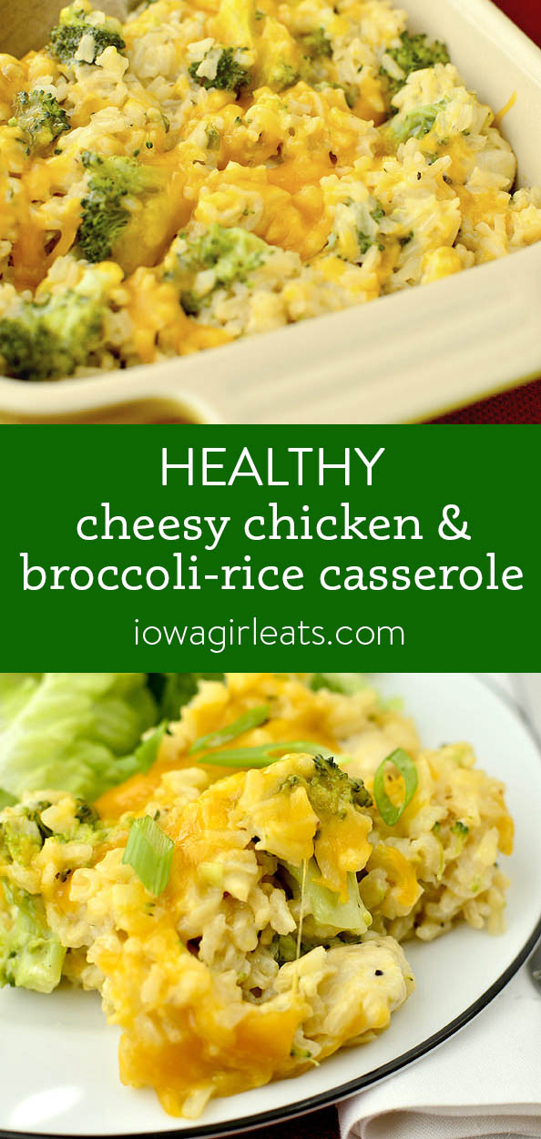 Photo collage of healthy cheesy chicken and broccoli-rice-casserole