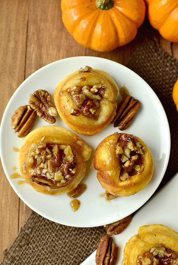 Mini Pumpkin Sticky Buns | iowagirleats.com