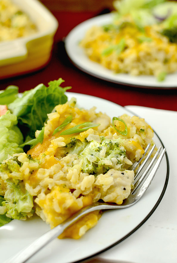Skinny Cheesy Chicken and Broccoli-Rice Casserole | iowagirleats.com