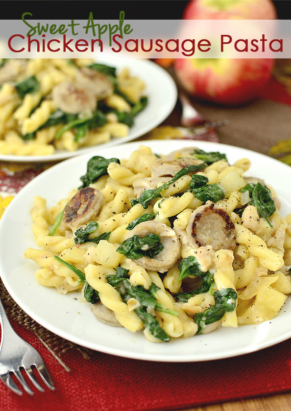 Sweet Apple Chicken Sausage Pasta | iowagirleats.com