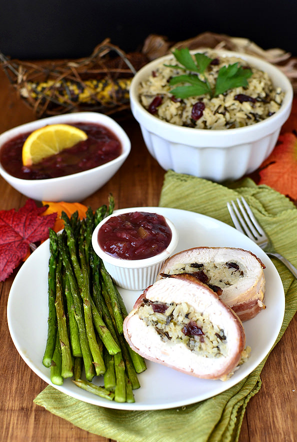 Bacon-Wrapped Turkey Breast with Wild Rice Stuffing and Cranberry-Orange Chutney. Perfect if you're only having a small crowd for Thanksgiving!   iowagirleats.com