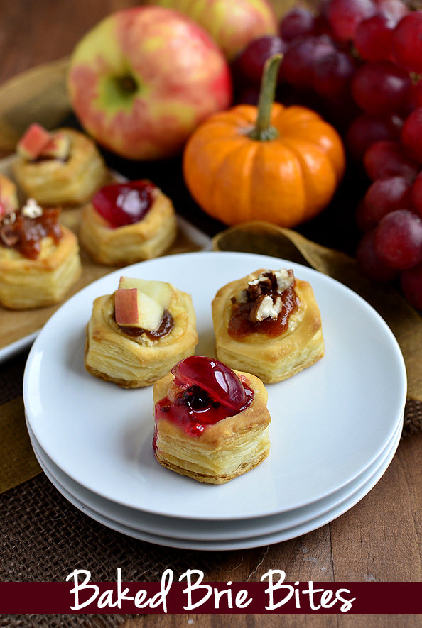 Baked Brie Bites - 3 Ways! Perfect for the holidays. | iowagirleats.com
