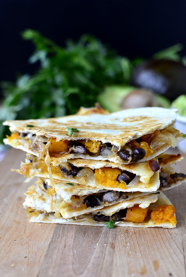 Black Bean & Butternut Squash Quesadillas with Lazy Girls Guacamole | iowagirleats.com