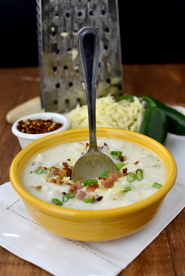 Cheesy Pepper Jack Potato Chowder #dinner #recipe #soup #chowder #winter | iowagirleats.com