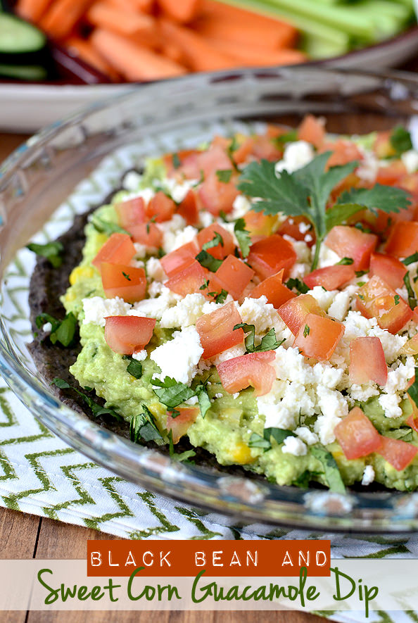 Black Bean and Sweet Corn Guacamole Dip | iowagirleats.com
