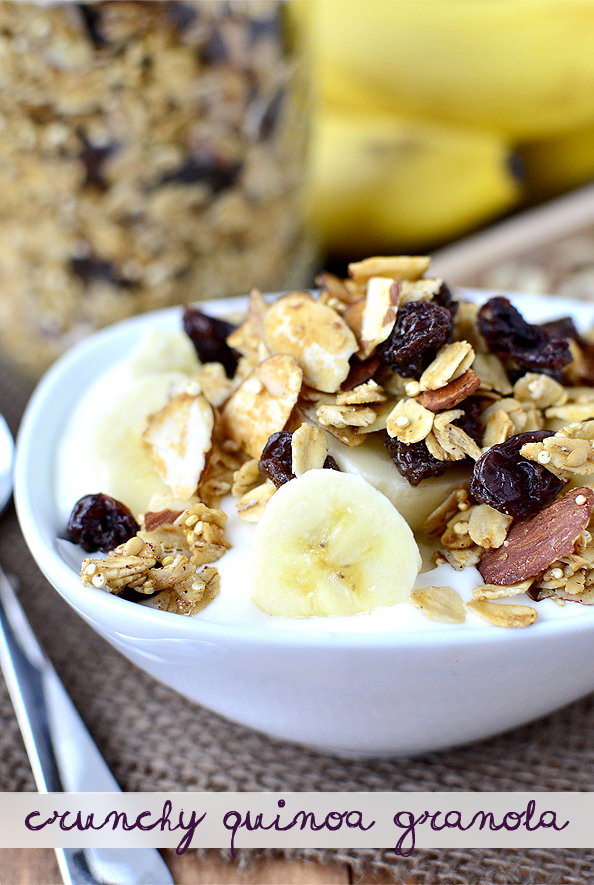 Crunchy Quinoa Granola #breakfast #recipe #healthy #snack | iowagirleats.com