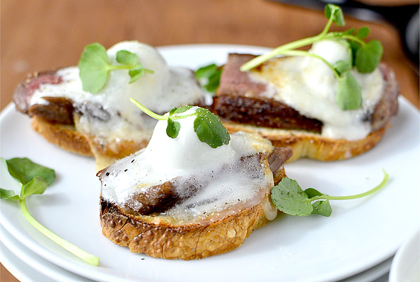 Savory Smores: Steak Crostini with Bleu Cheese Marshmallows #appetizer | iowgirleats.com