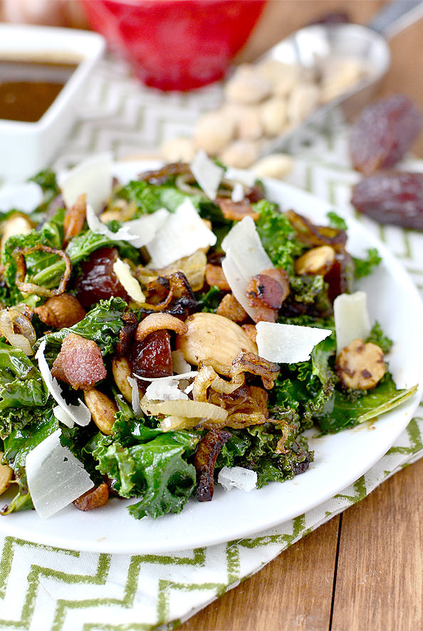 Warm Kale Salad with Bacon, Dates, Almonds, Crispy Shallots and Parmesan | iowagirleats.com