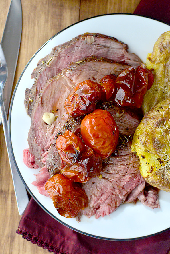 Easiest 1-Hour Roast Beef is a simple, gluten-free main dish recipe that's absolutely succulent. Enjoy for the holidays or any day of the week. | iowagirleats.com