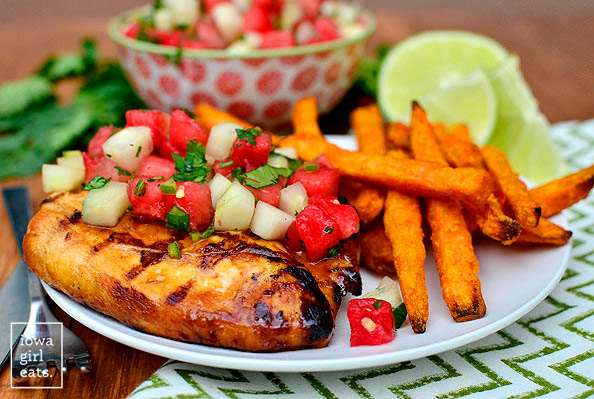 grilled chicken with cucumber watermelon salsa with french fries