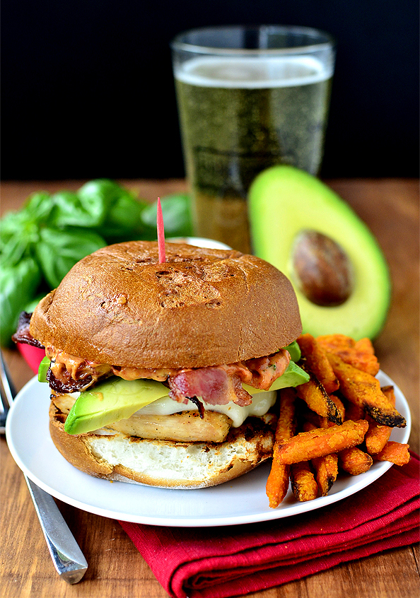 Grilled Chicken, Bacon and Avocado Melts with Sun Dried Tomato-Basil Mayo #glutenfree | iowagirleats.com