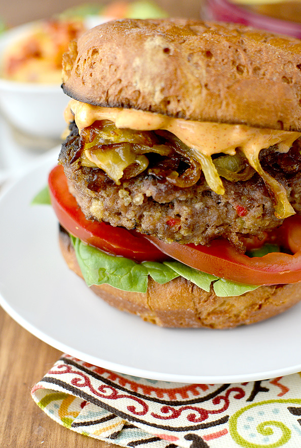Roasted Red Pepper Hummus Burgers with Caramelized Onions and Smokey Mayo | iowagirleats.com