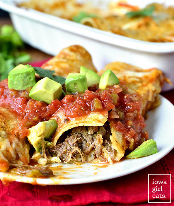 Crock Pot Shredded Beef Enchiladas Iowa Girl Eats