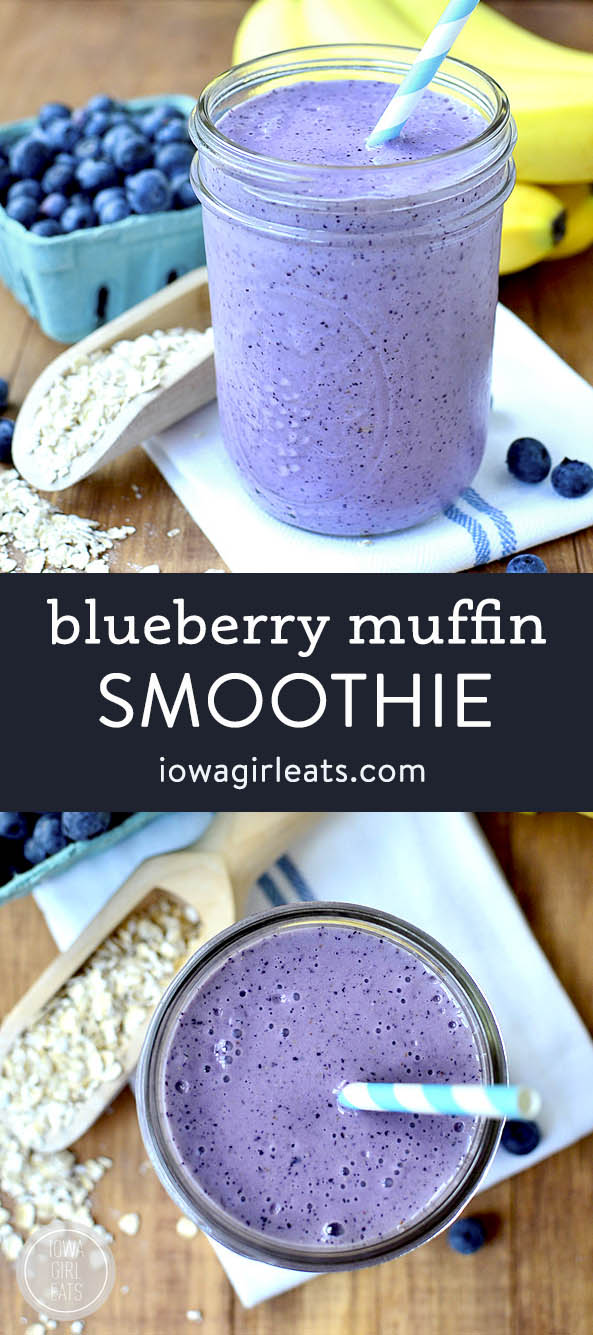 Photo collage of blueberry muffin smoothie